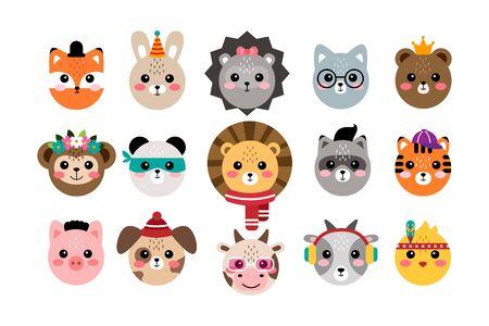 Kawaii set cute animal portraits vector illustration Ilustración de vector