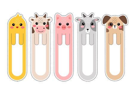Marque-pages kawaii de dessin animé avec illustration vectorielle d'animaux