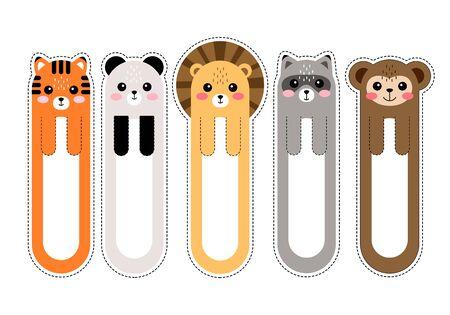 Marque-pages kawaii de dessin animé avec illustration vectorielle d'animaux Vecteurs
