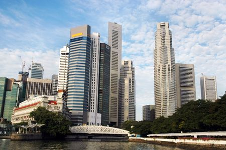 Skycrapers along mouth of Singapore River photo