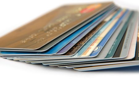 cashless: Stack of credit cards Stock Photo