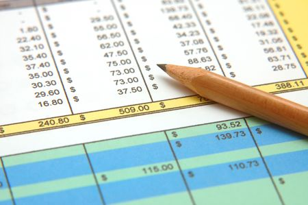 Spreadsheet with Pencil Stock Photo - 271218