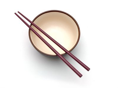 Isolated picture of chopsticks on a bowl