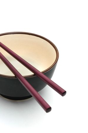 Isolated picture of chopsticks on a bowl 2