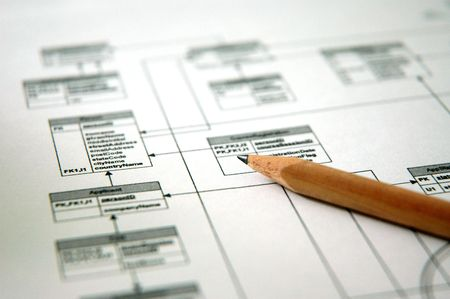 flow diagram: Photo showing pencil with a printout of a database schema (Shallow DOF)