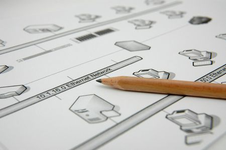 Photo showing pencil with a printout of a network diagram Stock Photo - 289282