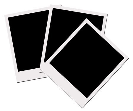 performed: Polaroid Films Series - provided for individual framing allows easy masking to be performed. Stock Photo