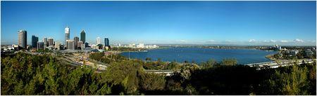 Perth City Skyline and Swan River Panorama Stock Photo