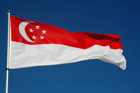 Singapore Flag with Blue Sky