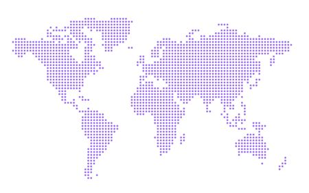Simple World Map make up of Blue Dots