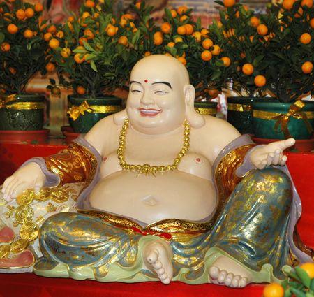 future buddha: Laughing Buddha Statue - Future Buddha Stock Photo