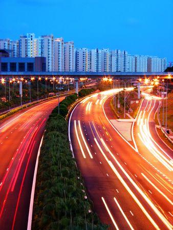 Evening Shot of Expressway, Singapore photo