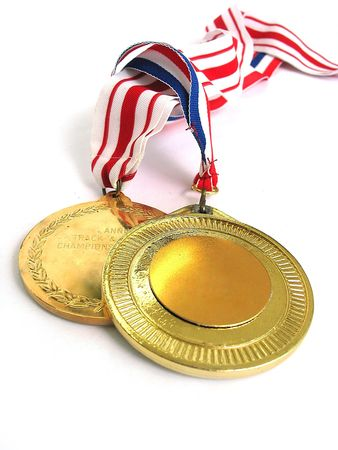 allow: 2 Gold Medals - Blank Surface allow you to put text on it Stock Photo