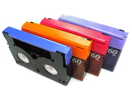 vhs videotape: DV tapes in a Row