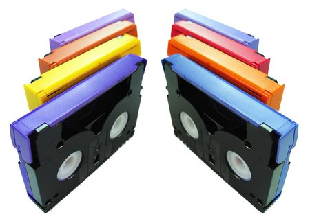 vhs videotape: DV tapes in two Rows