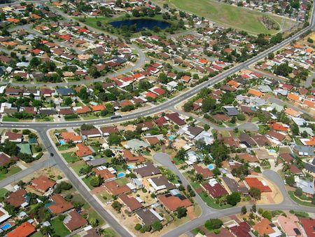 Zdjęcie lotnicze z małego miasteczka Zdjęcie Seryjne