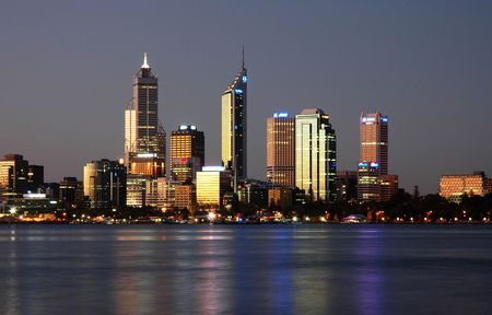 foreshore: City Skyline with Reflection Stock Photo