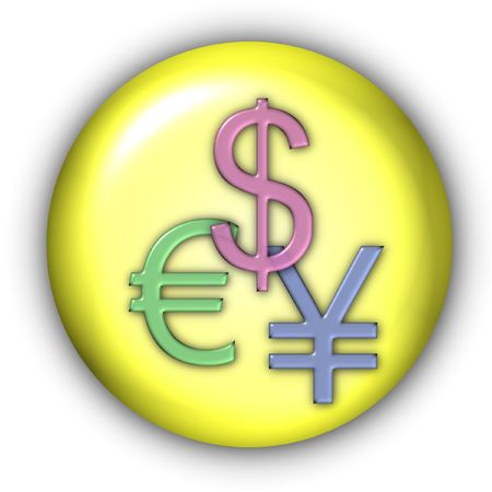 yen: Round Currency Icon Series - Dollar, Yen, Euro Stock Photo
