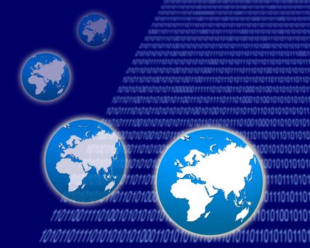 Digital World with Binary Background photo