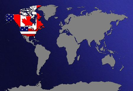 World Map Canada And USA Stock Photo Picture And Royalty Free - World map canada and usa