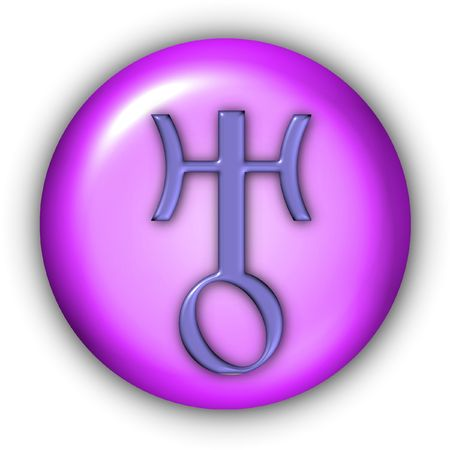 uranus: Planet Glyphs Button - Uranus Stock Photo