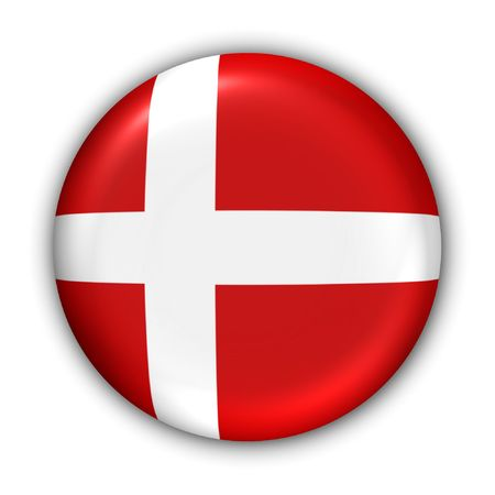 World Flag Button Series - Europe - Danemark (en Clipping Path)
