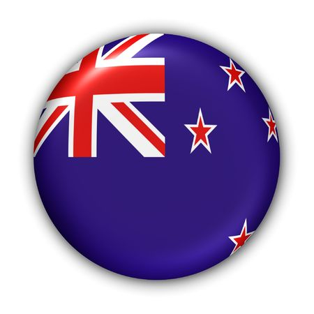 World Flag Button Series - Oceania - New Zealand (With Clipping Path)