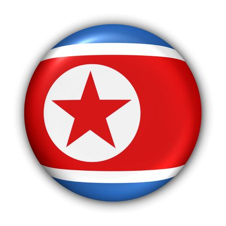cold war: World Flag Button Series - Asia - North Korea (With Clipping Path)