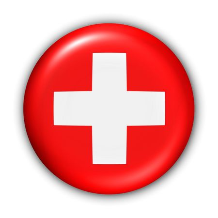 World Flag Button Series - Europe - Switzerland (With Clipping Path)