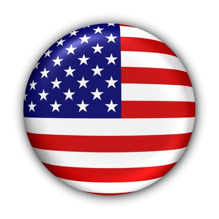 World Flag Button Series - North America - United States (With Clipping Path)