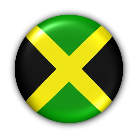 World Flag Button Series - Central America/Caribbean - Jamaica (With Clipping Path)