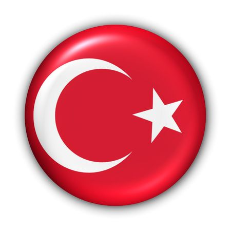 World Flag Button Series - Asia - Turkey (With Clipping Path) Stock Photo