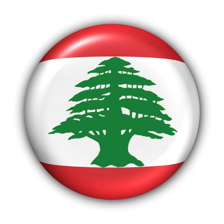 beirut: World Flag Button Series - AsiaMiddle East - Lebanon (With Clipping Path) Stock Photo