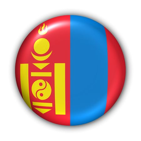mongolia: World Flag Button Series - Asia - Mongolia (With Clipping Path) Stock Photo