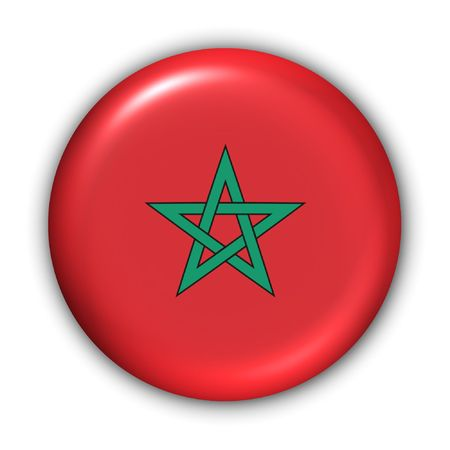 World Flag Button Series - Africa - Morocco (With Clipping Path)