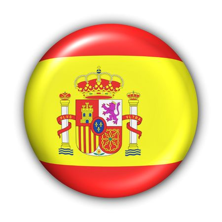 spainish: World Flag Button Series - Europe - Spain(With Clipping Path)