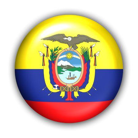 World Flag Button Series - South America - Ecuador (With Clipping Path)
