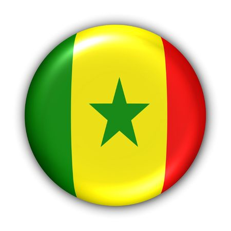 World Flag Button Series - Africa - Senegal (With Clipping Path)