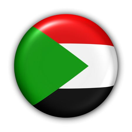 sudan: World Flag Button Series - Africa - Sudan (With Clipping Path) Stock Photo