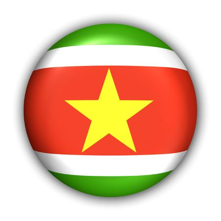 suriname: World Flag Button Series - South America - suriname (With Clipping Path) Stock Photo