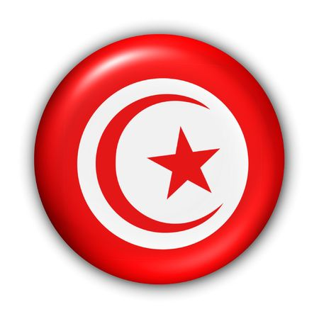 tunisia: World Flag Button Series - MediterraneanAfrica - Tunisia (With Clipping Path)