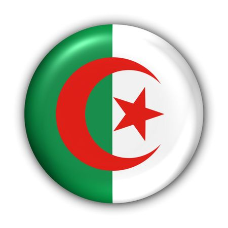 algeria: World Flag Button Series - Africa - Algeria (With Clipping Path)
