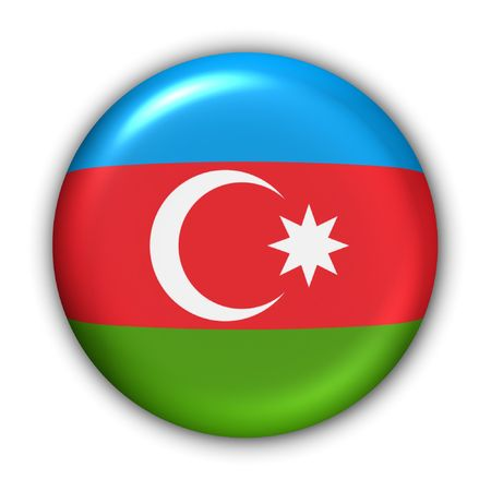 azerbaijan: World Flag Button Series - Asia - Azerbaijan (With Clipping Path) Stock Photo