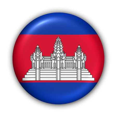 phnom: World Flag Button Series - Asia - Cambodia (With Clipping Path) Stock Photo