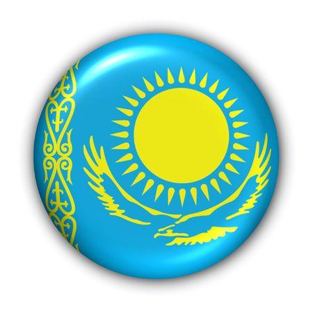 kazakhstan: World Flag Button Series - Asia - Kazakhstan (With Clipping Path)