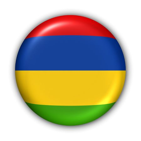 World Flag Button Series - Africa - Mauritius (With Clipping Path) Stock Photo - 373960