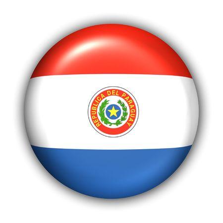 Paraguay: Drapeau mondial bouton S�rie - Am�rique du Sud - Paraguay (avec le chemin de d�tourage)
