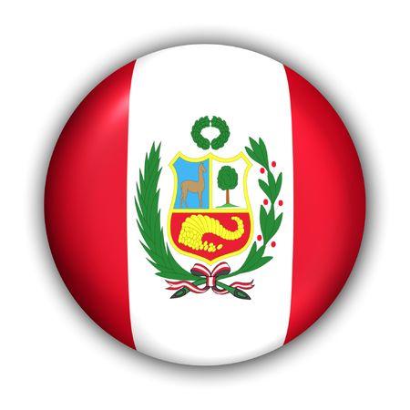 bandera peru: Mundo bandera bot�n serie - Am�rica del Sur - Per� (con recorte ruta)  Foto de archivo