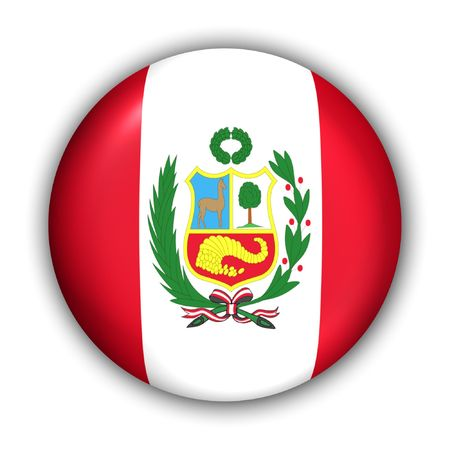 World Flag Button Series - South America - Peru (With Clipping Path)