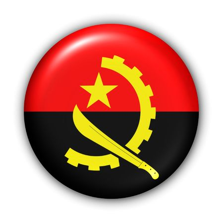 angola: World Flag Button Series - Africa - Angola (With Clipping Path) Stock Photo